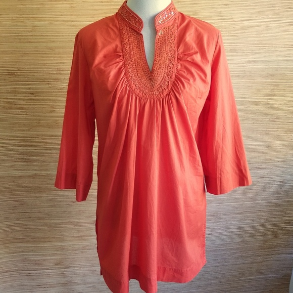 Talbots Other - Talbots Orange Sequin Neck 3/4 Sleeve Cover Up